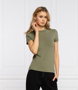 Zielony t-shirt Guess z okrągłym dekoltem z krótkim rękawem w stylu casual