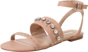 Różowe sandały Miss KG ze skóry w stylu casual z płaską podeszwą