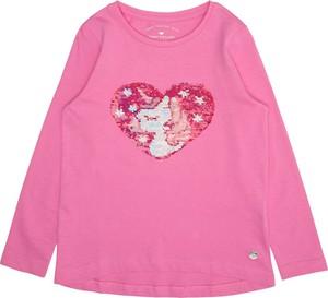 Różowa bluzka dziecięca Tom Tailor z długim rękawem