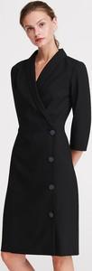 Czarna sukienka Reserved w stylu casual mini z długim rękawem