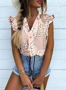 Różowa bluzka Sandbella z krótkim rękawem w stylu boho z dekoltem w kształcie litery v