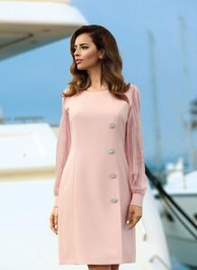 Sukienka Poza mini z szyfonu z długim rękawem