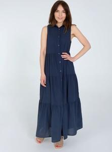 Granatowa sukienka Unisono bez rękawów maxi