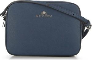 Niebieska torebka Wittchen na ramię ze skóry średnia