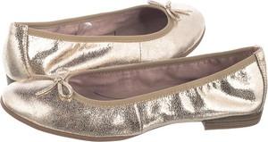 Złote baleriny Tamaris ze skóry