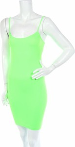 Zielona sukienka Sofra dopasowana z okrągłym dekoltem na ramiączkach