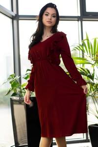 Sukienka MERRIBEL maxi z długim rękawem z dekoltem w kształcie litery v