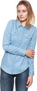 Niebieska koszula Lee z jeansu z kołnierzykiem