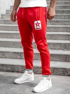 Czerwone spodnie sportowe Denley z bawełny
