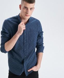 Turkusowa koszula Cropp ze stójką z długim rękawem