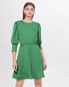 Zielona sukienka Mohito z okrągłym dekoltem mini z długim rękawem