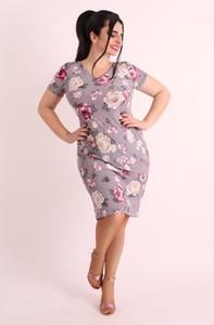 Sukienka Oscar Fashion prosta midi z dekoltem w kształcie litery v