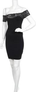 Czarna sukienka Vintage Dressing z okrągłym dekoltem mini z krótkim rękawem