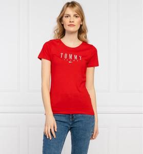Czerwony t-shirt Tommy Jeans z okrągłym dekoltem