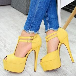 Żółte sandały buu.pl z zamszu z klamrami na platformie