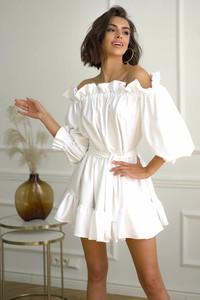 Sukienka Popatu z długim rękawem mini z bawełny