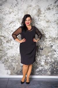 Sukienka tono.sklep.pl z długim rękawem midi dla puszystych