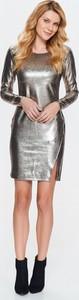 Srebrna sukienka Top Secret z tkaniny z okrągłym dekoltem