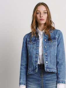 Niebieska kurtka Reserved krótka w stylu casual