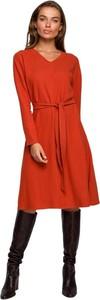 Pomarańczowa sukienka Style w stylu casual z dekoltem w kształcie litery v z długim rękawem