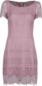 Sukienka VISSAVI ołówkowa z okrągłym dekoltem z krótkim rękawem