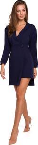 Sukienka Merg z długim rękawem z dekoltem w kształcie litery v mini