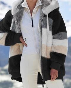 Kendallme Pluszowy płaszcz z kapturem colorblock długim rękawem kurtka czarny