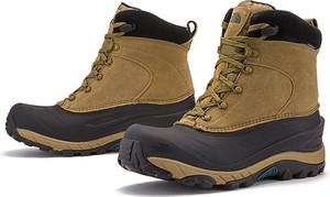 Brązowe buty zimowe The North Face ze skóry sznurowane