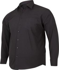 Czarna koszula Bigsize z długim rękawem z bawełny z klasycznym kołnierzykiem