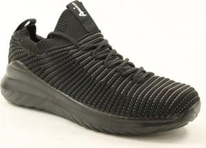 Czarne buty sportowe American Club ze skóry z płaską podeszwą