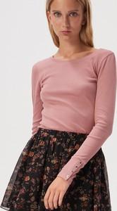Bluzka Sinsay w młodzieżowym stylu z długim rękawem z okrągłym dekoltem