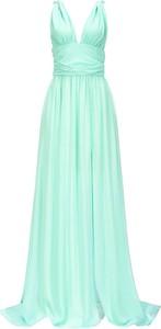 Zielona sukienka Pinko na ramiączkach z dekoltem w kształcie litery v maxi