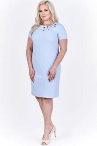 Niebieska sukienka Fokus z okrągłym dekoltem z krótkim rękawem midi