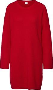 Czerwona sukienka Boss midi z wełny z długim rękawem