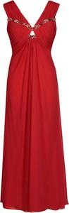 Czerwona sukienka Fokus z szyfonu maxi w stylu glamour