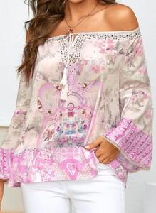 Różowa bluzka Cikelly z długim rękawem z okrągłym dekoltem