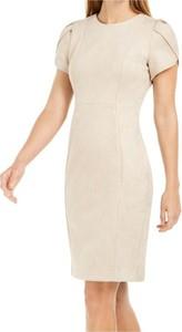 Sukienka Calvin Klein z okrągłym dekoltem midi z krótkim rękawem