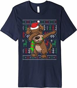 Bluzka Dabbing Zoo Dog Ugly Christmas T-shirt Store w bożonarodzeniowy wzór w młodzieżowym stylu z okrągłym dekoltem