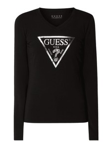 Czarna bluzka Guess z okrągłym dekoltem