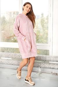 Różowa sukienka Lemoniade z bawełny mini z długim rękawem