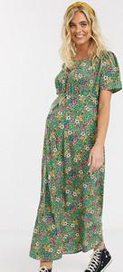 Mama Licious Mamalicious Maternity – Zielona sukienka maxi w kwiaty-Zielony
