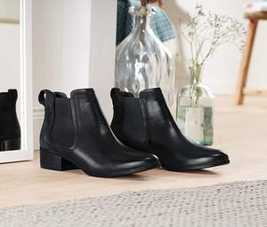 Czarne botki Tchibo na obcasie w stylu casual