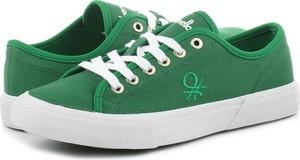 Zielone trampki United Colors Of Benetton z płaską podeszwą sznurowane