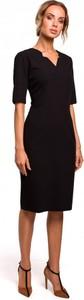 Czarna sukienka MOE z krótkim rękawem ołówkowa