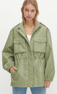 Zielona kurtka Reserved w stylu casual ze skóry