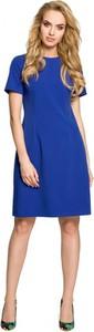 Niebieska sukienka MOE mini z okrągłym dekoltem trapezowa