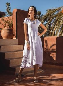 Sukienka Furia z krótkim rękawem z lnu