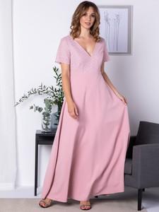 Sukienka Grandio maxi z krótkim rękawem z dekoltem w kształcie litery v