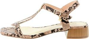 Sandały Prima Moda ze skóry z klamrami w stylu casual