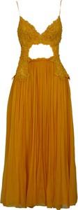 Żółta sukienka Alberta Ferretti na ramiączkach z dekoltem w kształcie litery v